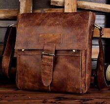 Men's Vintage Genuine Cow Leather Brown Shoulder Messenger bag Satchel Bags
