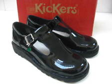 Womens girls Kickers KICK LO AZTEC Patent Leather T-Bar Shoes Black size UK 4 37