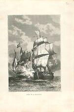 1778 combat naval la Belle-Poule contre HMS Arethusa  UK GRAVURE OLD PRINT 1879