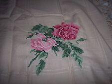 "Afghan Cloth w Fringe ~ 45"" X 34"" ~ Ivory ~ Corner Rose Cross Stitch Design"