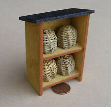 1:12 Scale 4 Wicker Bee Hives Fixed In A Wooden Stand Dolls House Accessory