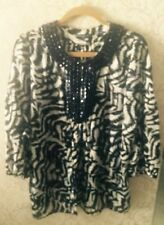 NWOT MAGASCHONI Collection Salon Z 100% Silk Black & White Beaded Collar SZ  18W