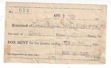 1903 Honolulu Hawaii PO BOX Rent Receipt, Signed Jos.M. Oat Postmaster