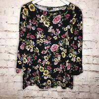 J. Jill Wearever Size Medium Black Floral Wild Flowers 3/4 Sleeve Stretch Top