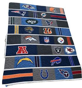 Pottery Barn Teen NFL AFC Logo Football Patchwork Quilt Twin Bedspread 70 X 86