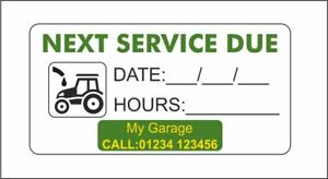 Service Reminder   Service Due Sticker   Tractor or Plant Machinery Personalized