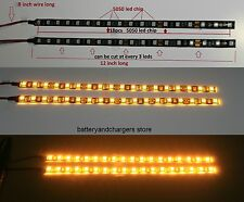 2 AMBER BRIGHT 12 inch 18 LED Waterproof Flexible Strip BLACK board 5050 chip