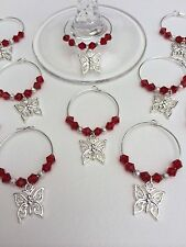50 Red Crystal Butterfly Wine Glass Charms. Wedding,Favours,Party,Hen Night