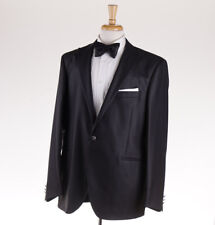 NWT $1375 LUBIAM (L.B.M. 1911) Black Striped Peak Lapel Tuxedo Slim 46 R Suit
