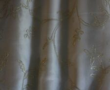 "Silver Embroidery on White 100% Silk Organza Fabric 44"" Wide, By Yard (EB-991)"