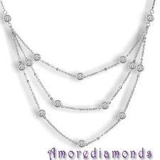 4 1/5 ct G SI1 round ideal cut diamonds by the yard eyeglass bezel necklace 18k