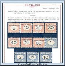 Colonie 1926 Somalia Segnatasse n. 1/10 Certificato Raybaudi Nuovi Integri **