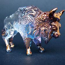 Bison Buffalo Figurine Hand Blown Glass Gold Sculpture