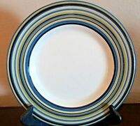 Tabletops Unlimited Hand Painted Coastal Stripes Dinner Plates x1 Blue Green