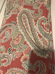 Pottery Barn 72x72 Cotton Shower Curtain red coral paisley 💯 cotton fresh clean