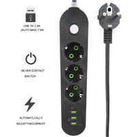 Steckdosenleiste Mehrfachstecker Überspannungsschutz Steckdose USB Port Schalter