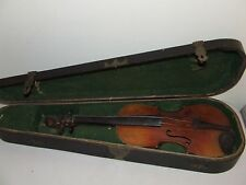 Antique 19th C. Violin & Coffin Case- Tiger Maple with Ebony Fingerboard & Pegs
