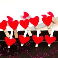 HOT Wedding Pegs Cute Craft 20Pcs Decor Heart Shaped Wooden Photo Red Clips