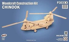 Chinook: Woodcraft Quay Helicopter Construction Wooden 3D Model Kit P303 Age 7 +