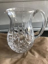 Waterford Lismore 60oz Pitcher Signed, Vtg Vertical Diamond Cut Crystal Jug