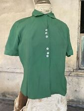 Antique 1930s Green Cotton Button Up Blouse Top Shirt Mother Of Pearl  Vintage