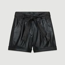 445$ Maje Leather Oversize shorts black  size S 36 NEW