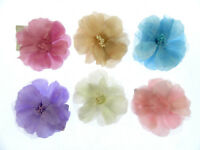 Hair flower in pastles layered  silk organza clip and pin 10cm weddings, party