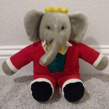 """Vintage Gund Babar Elephant King Plush Crown Red Suit 1988 Stuffed Animal 15"""""""