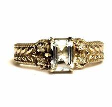 14k white gold womens diamond aquamarine .06ct ring ladies 4.4g estate vintage