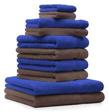 10-tlg. Handtuch Set Classic - Premium, Farbe: Royal-Blau & Nuss, 2 Seiftücher 3