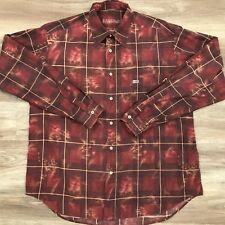 Napapijri Men's Long Sleeve Button Down Shirt Red Maroon Geographi Size XL. C6