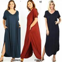 Women oversize T-Shirt Maxi casual short sleeve long Dress Plus 1x 2x 3x