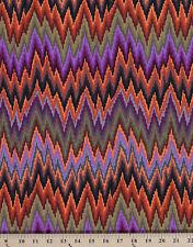 Cotton Kaffe Fassett Flame Stripe Zig Zag Brown Cotton Fabric Print D405.02