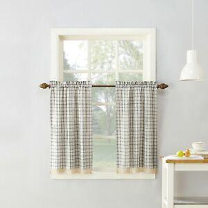 "No. 918 Maisie Plaid Kitchen Curtain Tiers  Pair 54""W X 36""L - Grey"