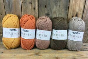 King Cole Majestic DK Knitting Yarn 5 x 50g Orange Bracken Amber Taupe Chocolate