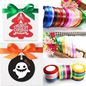 10mmx22m DIY Party Christmas Halloween Gift Wrapping Satin Fabric Ribbons Bows