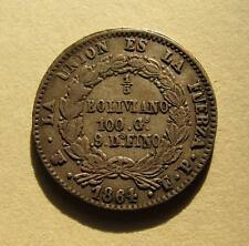 1864 Bolivia 1/5 Boliviano PTS FP Silver Coin South America KM#151.1 SCARCE