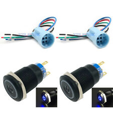 19mm Socket Plug+12V Latching Push Button Power Switch Black Metal Blue LED