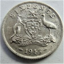1945 George VI Sixpence Grading About UNCIRCULATED.