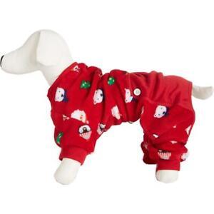 Family PJs Red Fleece Holiday Pet Dog Pajamas XS BHFO 9036