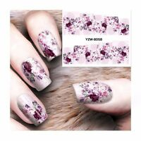 Nail Art Water Decals Stickers Transfers Purple Spring Flowers Gel Polish (8058)