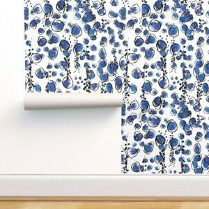 Peel-and-Stick Removable Wallpaper Abstract Modern Painted Cobalt Blue Royal