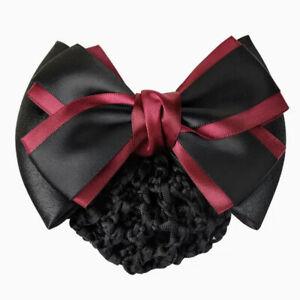 ERA Rhianna  Hair Bow Barrette Bun Snood - Burgundy & Black Satin