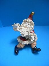 Rare Vtg Santa Claus Figure Spaghetti Beard Hair Suit Trim Playful Pose Ceramic