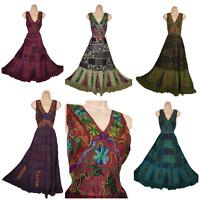 Patchwork Dress Maxi Boho Hippy Viscose Festival Hand Embroidered  8 10 12 14 16