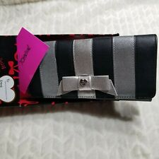 NWT Betsey Johnson Wallet Phone Holder/Clutch Organizer Silver And Black MSRP$64