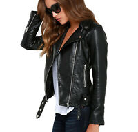 Women's Jacket Genuine Lambskin Leather Black Motorcycle Slim fit Designer Biker
