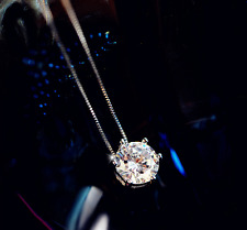 Elegant Lovely 925 Sterling Silver 0.5 Cts AAA Cubic Zirconia Pendant Necklace