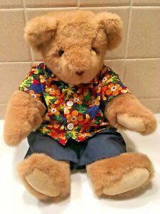 "Vintage Vermont Teddy Bear 16"" Tan with Hawaiian Shirt Navy Pants"
