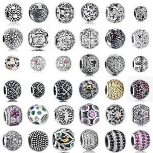 Fashion Beads Crystal Pendants 925 Silver European Charms Fit Bracelet Necklace